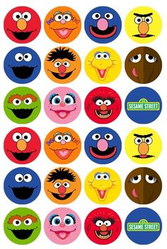 Fiesta Discover 24 x Sesame Street Character Faces Edible Cupcake Toppers Pre-Cut Sesame Street Birthday Cakes, Sesame Street Cupcakes, Sesame Street Cake, Sesame Street Cookies, Sesame Street Crafts, Monster Birthday Parties, Elmo Party, Elmo Birthday, Monster Party