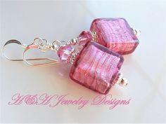 Murano Glass Earrings, Venetian Glass Earrings, Pink White Gold Foil Murano Earrings, Pink Earrings, Glass Drop Earrings, Venetian Glass by hhjewelrydesigns on Etsy