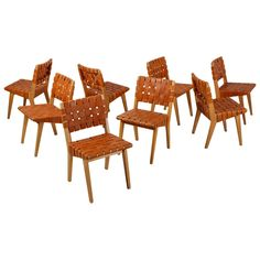 Jens Risom Set of Eight Webbed Knoll Chairs with Leather Webbing, USA, 1952   From a unique collection of antique and modern side chairs at https://www.1stdibs.com/furniture/seating/side-chairs/