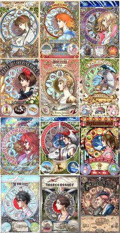 I first came across Takumi because of his art nouveau posters for Miyazaki/Studio Ghibli films. Studio Ghibli Films, Art Studio Ghibli, Studio Art, Totoro, Hayao Miyazaki, Fanarts Anime, Anime Films, Girls Anime, Howls Moving Castle