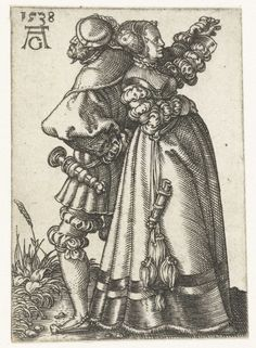 1538 Dancing couple with backs against each other, Heinrich Aldegrever.  Look at items hanging from belts.