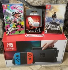 #videogames #Gamers #nintendo switch Nintendo Switch Bundle  Console ( Neon Joy Cons) , Splatoon 2, Zelda 64gb SD 698.78      Item specifics     Condition:        New: A brand-new, unused,...