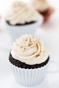 These Chile Mocha Cupcakes are just like the coffee drink. Sweet and spicy with cocoa, cinnamon and vanilla in the cupcakes and a dash of chile. #cupcakes #spicy