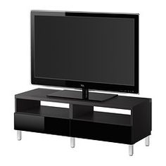 BESTÅ TV bench with drawers - black-brown/Tofta high-gloss/black - IKEA