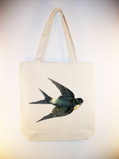 Beautiful Vintage Swallow illustration on 15x15 Canvas Tote by Whimsybags, $12.00