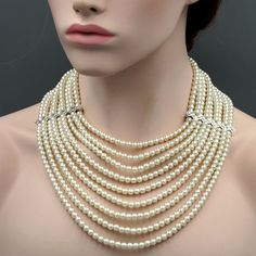 Stone / color: mm high quality glass faux pearls, Czech Crystal / Creamy-white, Clear Metal / color: Rhodium plated alloy / Rhodium Central section Dimensions: Please see the picture Inner Strand: to Weight: oz Quantity: 1 pc Multi Strand Pearl Necklace, Gemstone Necklace, Beaded Necklace, Necklaces, Indian Jewelry Sets, African Jewelry, Pearl Necklace Designs, Layered Jewelry, Pearl Set
