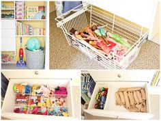 A hosiery divider and wire basket provide easy and accessible toy storage in this little girl's closet. Perfect for helping little hands reach toys and put them away on their own! Closet Organization, Organization Ideas, Kid Closet, Chores For Kids, Home Management, Toy Rooms, Playroom Decor, Toy Storage, Kid Spaces
