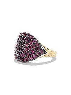 David Yurman Osetra Pinky Ring with Rhodalite Garnet and 18K Gold