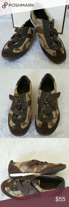 Box included Coach Kyra sneakers Excellent condition!  Comes with box Coach Kyra sneakers in Signature print with chocolate suede trim.  Stretch velcro close Coach Shoes Sneakers