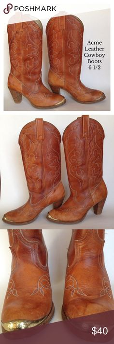 Acme Leather Cowboy Boots Well worn in leather. Herls are a bit scuffed over all boots are still in great condition. Heel height: 3 inches. Length from heel to toe is 10 inches. acme Shoes Heeled Boots