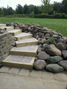 Stairs on hill side walkout. complete Stairs on hill side walkout. complete - Stairs on hill s Sloped Backyard, Backyard Patio, Backyard Landscaping, Landscaping Ideas, Walkway Ideas, Landscape Stairs, Landscape Design, Garden Design, Landscape Timbers
