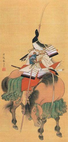Tome Gozenn   female warrior in 12th century   Image on Silk of Tomoe Gozen, Edo Era, Tokyo National Museum.