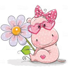 Illustration about Greeting card Hippo with flower on a white background. Illustration of baby, happiness, cheerful - 85082823 Baby Hippo, Cute Hippo, Cartoon Hippo, Cute Cartoon, Cute Images, Cute Pictures, French Bulldog Drawing, Belly Painting, Print Artist