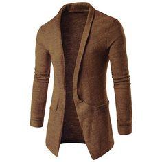 Winter Long Sleeves Lapel Neck Sweater Coat Long-Length Cardigan