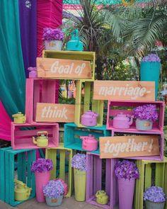 A Sikh-Marathi Wedding with a high-on-spirit Bride & Fresh Decor Ideas Desi Wedding Decor, Wedding Stage Decorations, Wedding Mandap, Backdrop Decorations, Diy Wedding, Recycled Wedding Decorations, Wedding Ideas, Mehendi Decor Ideas, Mehndi Decor