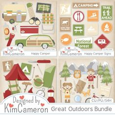 Great Outdoors Bundle Layered PSD Templates by Kim Cameron ; Commercial Use for Digital Scrapbooking, #CUDigitals