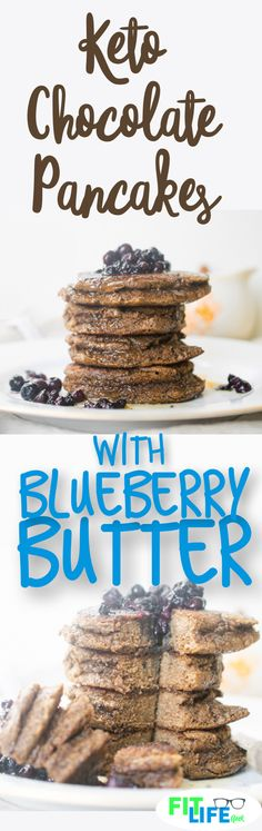 Check out this delicious keto friendly breakfast with keto chocolate pancakes and blueberry butter. #keto #ketodiet #ketorecipes