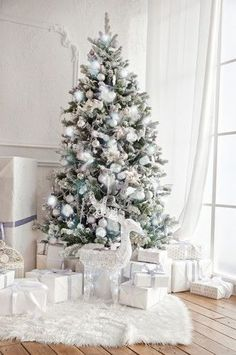4664 White Christmas Tree Fireplace Indoor Window Interior Backdrop
