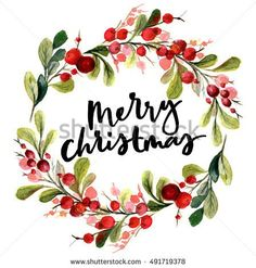 stock-photo-christmas-card-watercolor-painting-with-hand-lettering-berry-wreath-for-christmas-watercolor-491719378.jpg (448×470)