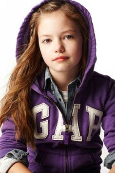 Mackenzie Foy in a purple GAP hoodie
