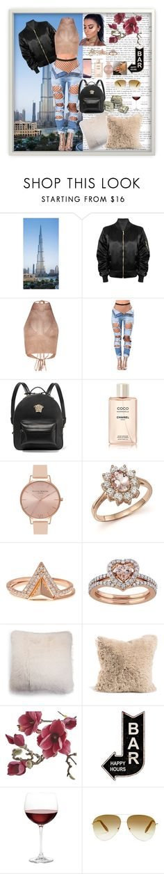"""""""Holiday to dubai"""" by firdawskone on Polyvore featuring Versace, Chanel, Olivia Burton, Bloomingdale's, Lucky Brand, UGG, Crate and Barrel, Nordstrom, Victoria Beckham and Samsung"""