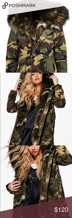 Army Fatigue Parka Coat w/ Faux Fur Hood Super cute! New without tags. Size small. Jackets & Coats Pea Coats