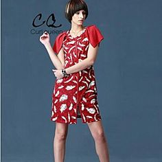 OBELL Women's Vintage Contrast Color Splicing Chiffon Sleeves Print Simplicity Dress