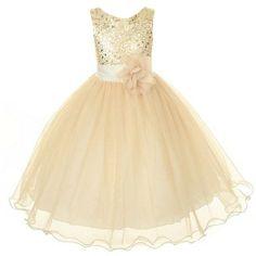 Amazon.com: Kids Dream Gold Sequin Double Mesh Flower Girl Dress Girls 2T-14: Kids Dream: Clothing