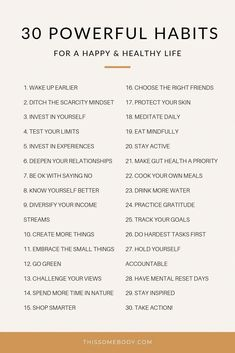 30 powerful habits for a happy, healthy life - Alles über Mundpflege 2020 Good Habits, Healthy Habits, Healthy Quotes, Healthy Living Quotes, Healthy Living Tips, Vie Motivation, Fitness Motivation, Fitness Goals, Tuesday Motivation