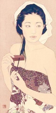 Japanese Art Modern, Japanese Art Prints, Japanese Painting, Japanese Female, Illustrations, Illustration Art, Vaporwave Art, Hippie Art, Fashion Painting