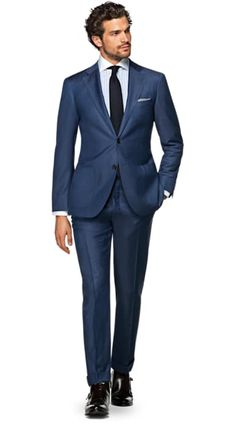 Suitsupply Suits: Soft-shoulders, great construction with a slim fit—our tailored, washed and formal suits are ideal for any situation. Mens Fashion Suits, Mens Suits, Fashion Outfits, Men's Fashion, Fashion Trends, Business Casual Attire For Men, Suit Combinations, Blue Suit Men, Formal Suits