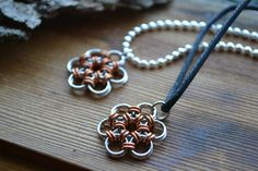New to AthenasArmoury on Etsy: Flower Power Chain Maille Pendant Necklace - Japanese Chain Maille Weave Earth Friendly (10.00 USD)