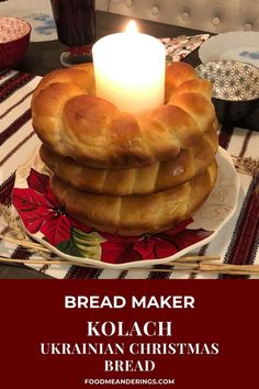 5 reviews · 40 minutes · Vegetarian · Serves 10 · This Kolach Bread is a traditional braided Ukrainian Bread made right in your bread machine! Three loaves, stacked on top of each other, are an essential part of the Ukrainian Christmas Eve Supper. Christmas Bread, Christmas Food Gifts, Christmas Eve, Winter Holiday, Christmas Recipes, Savory Bread Recipe, Bread Maker Recipes, Baking Recipes, Ukrainian Christmas