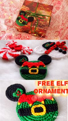 Christmas Elf Free Crochet Pattern Check out these amazing Mickey Mouse inspired crochet Christmas ornaments, aren't they adorable? These would look amazing on your Disney Christmas tree, or also strung together as a Christmas garland. Crochet Christmas Decorations, Crochet Ornaments, Christmas Crochet Patterns, Easy Crochet Patterns, Knitting Patterns, Doll Patterns, Christmas Elf, Disney Christmas, Crochet Toys
