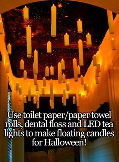 O_O Harry Potter inspired floating candles. These were made from paper towel rolls and battery LEDs. So insanely easy! The link has TONS and tons of ideas for an entire Harry Potter themed party, including menu ideas and lots of. Halloween Tags, Adornos Halloween, Adult Halloween Party, Halloween Birthday, Halloween Party Decor, Holidays Halloween, Halloween Crafts, Happy Halloween, Halloween Office Decorations
