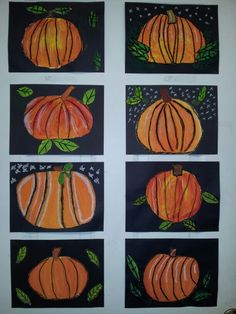 Pumpkin art project with kids. With tempura paint using just red, yellow and blue paint.