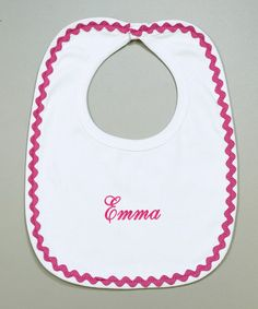 Take a look at this White & Hot Pink Rickrack Personalized Bib by Princess Linens Layette on #zulily today!