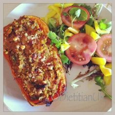 Dietitian UK: Baked Butternut Squash stuffed with Lentils