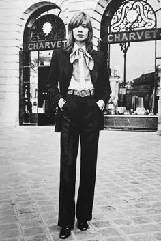 """"""" Françoise Hardy wears Charvet, by Uberto Guidotti in Elle, 1971 """""""
