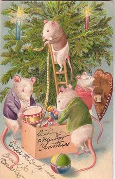 by Molly Brett link Vintage Christmas card link This adorable Miss Mousie is all dressed in. Christmas Scenes, Christmas Animals, Christmas Past, Christmas Greetings, Christmas Holidays, Christmas Crafts, Xmas, Vintage Christmas Images, Victorian Christmas