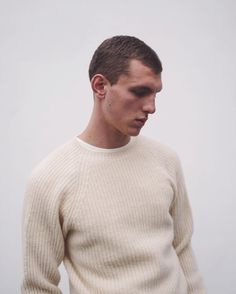 The 100% lambswool Hemingway Rib Knit in cream. #YouMustCreate #Knitwear #Lambswool