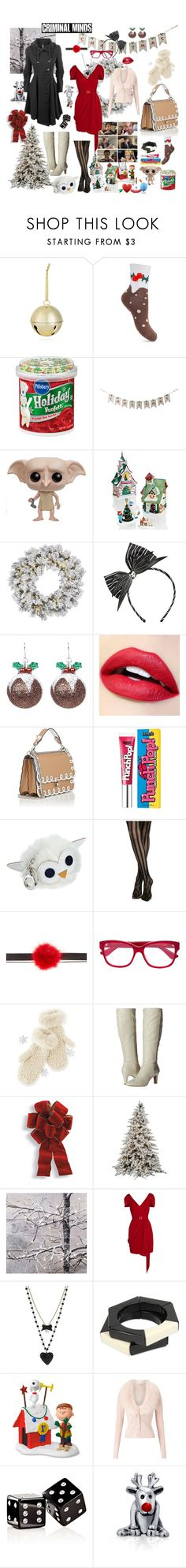 """""""Christmas Penelope"""" by missmoxxie ❤ liked on Polyvore featuring Bloomingdale's, Miss Selfridge, Red Vanilla, Funko, Department 56, Loungefly, London Fog, Fendi, Benefit and Hot Topic"""