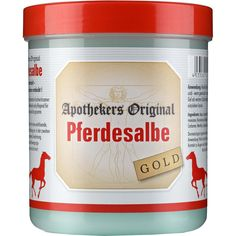 PFERDESALBE Apothekers Original Gold:   Packungsinhalt: 600 ml Gel PZN: 02889727 Hersteller: Equimedis Dr. Jacoby GmbH & Co. KG Preis:…