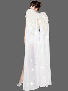 Floor Length White Angel Wings with Rhinestones | Wholesale Wings