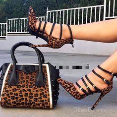 Shoespie Leopard Zipper Point Toe Stiletto Heels (not include bag) High Heel Boots, High Heel Pumps, Pumps Heels, Stiletto Heels, Shoe Boots, Ankle Boots, Leopard Fashion, Fashion Heels, Lace Up Heels
