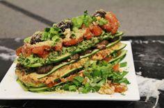 Raw lasagna with cilantro pesto, sun-dried tomatoes and marinated veggies