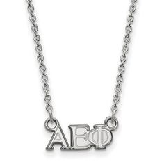 Represent your sorority and show your Greek pride with this small-letter sorority necklace. Crafted in sterling silver, this dimensional design features the Greek letters Alpha Epsilon Phi. Polished to a bright shine, this statement style suspends centered along an 18.0-inch cable chain that secures with a lobster claw clasp.