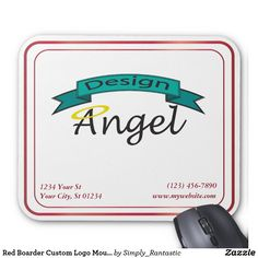 Red Boarder Custom Logo Mouse Pad W/ Business Info