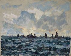 Oil painting reproduction: Maxime Maufra Fishing Sardine Boat 1909 - Artisoo.com