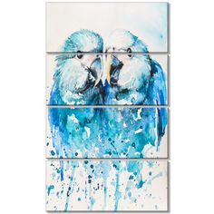DesignArt 'Spix's Macaw Watercolor' 4 Piece Painting Print on Wrapped Canvas Set